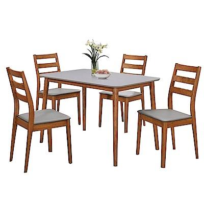 AT HOME-美式鄉村胡桃雙色3.6尺餐桌椅組(1桌4椅)