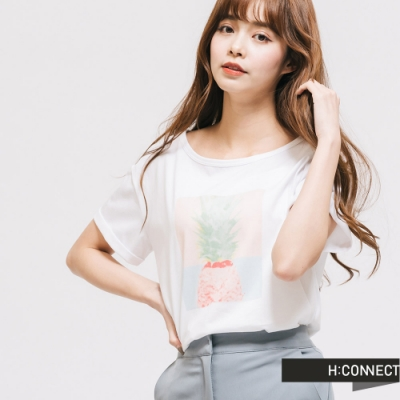 H:CONNECT 韓國品牌 女裝 -圓領鳳梨圖印T-Shirt-白