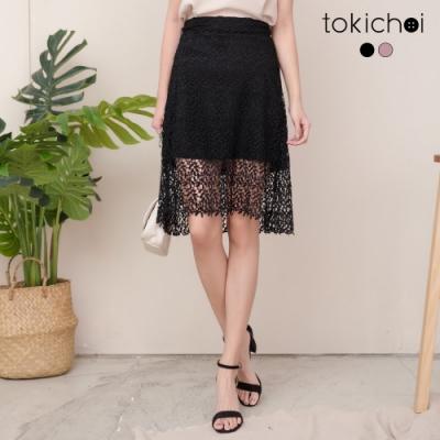 東京著衣 龐克性感蕾絲腰圍鬆緊A字裙-S.M.L(共二色)