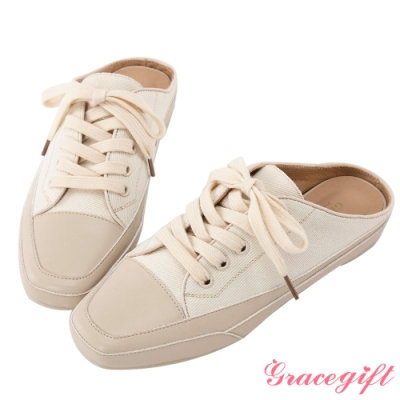 Grace gift-休閒布面方頭穆勒鞋 米白