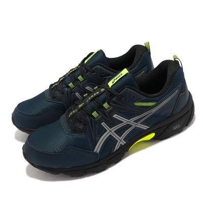 Asics 慢跑鞋 GEL-Venture 8 AWL 男鞋 亞瑟士 野跑鞋 避免刮傷 刻紋 亞瑟膠 藍 黃 1011B316400