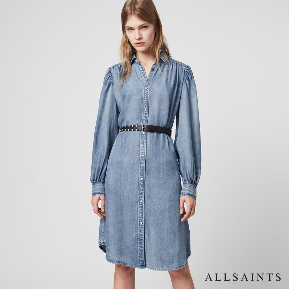 ALLSAINTS ELLA 90年代中長版牛仔連身裙洋裝-藍