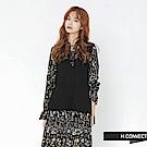 H:CONNECT 韓國品牌 女裝-甜美縮袖兩件式小花洋裝-黑