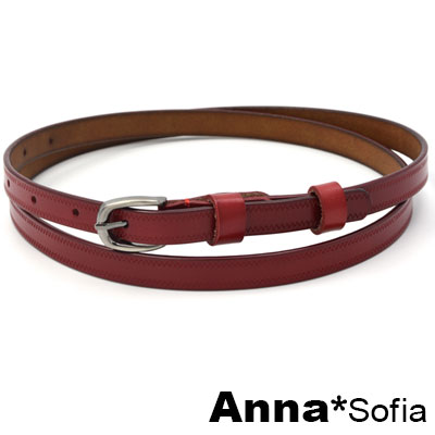 AnnaSofia 鋸齒波線 二層牛皮真皮細腰帶(黥紅系)