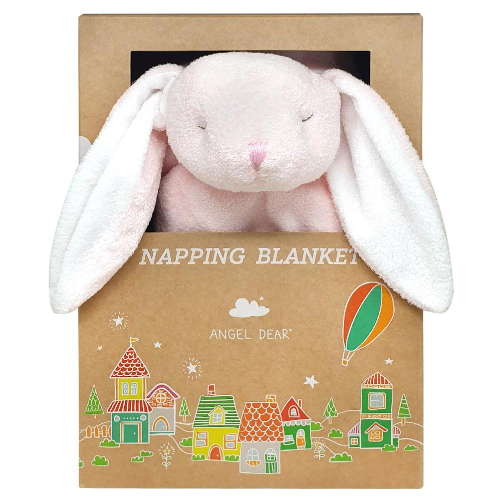 美國 Angel Dear 大頭動物嬰兒毛毯禮盒版 (粉紅小兔-粉粉)