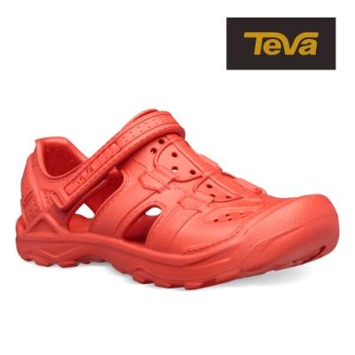 TEVA 原廠貨 中童 Omnium Drift 水陸輕量護趾涼鞋/雨鞋/水鞋-火紅色