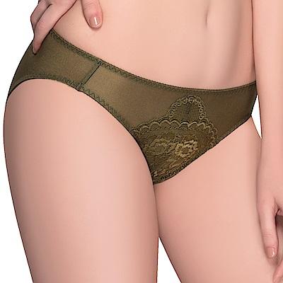 思薇爾 花慕系列M-XL蕾絲低腰三角內褲(森林綠)