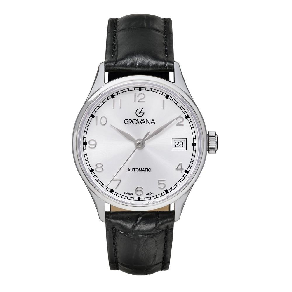 (福利品) GROVANA瑞士錶 自動機械女錶(3190.2532)-銀面x黑皮帶/35mm