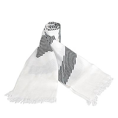 CK Calvin Klein 雙色條紋印花造型長圍巾(白)