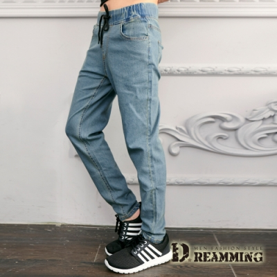 Dreamming 超彈力素色抽繩平口休閒牛仔長褲-共四色