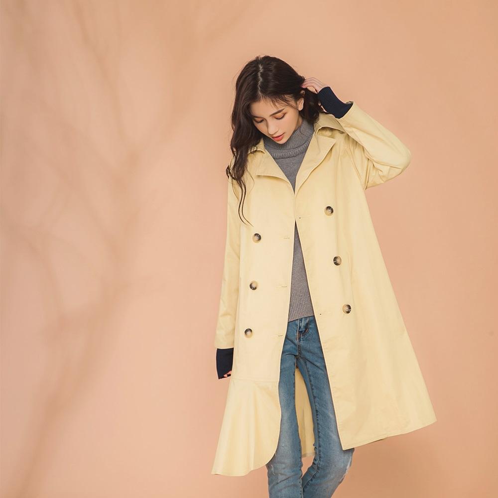 IREAL荷葉裙襬風衣洋裝外套 product image 1