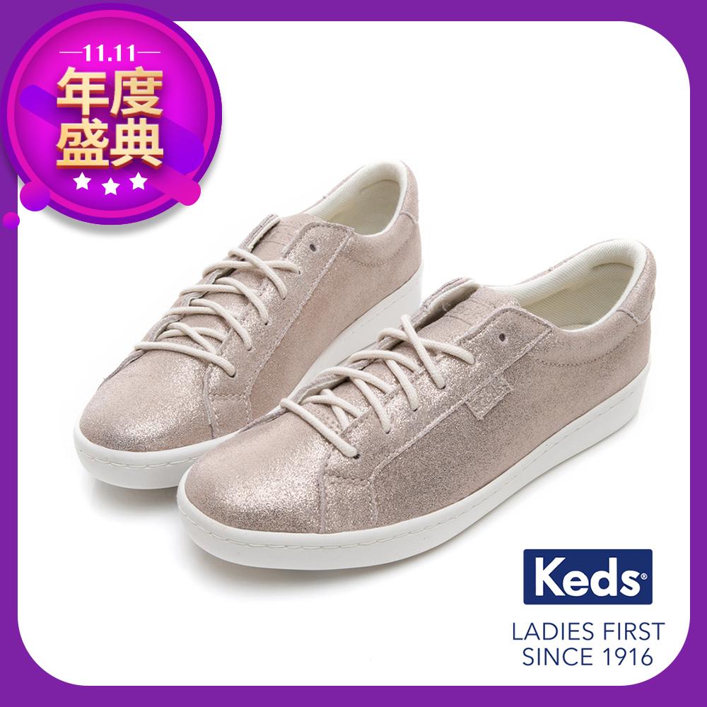 Keds ACE 麂皮綁帶休閒鞋-香檳金
