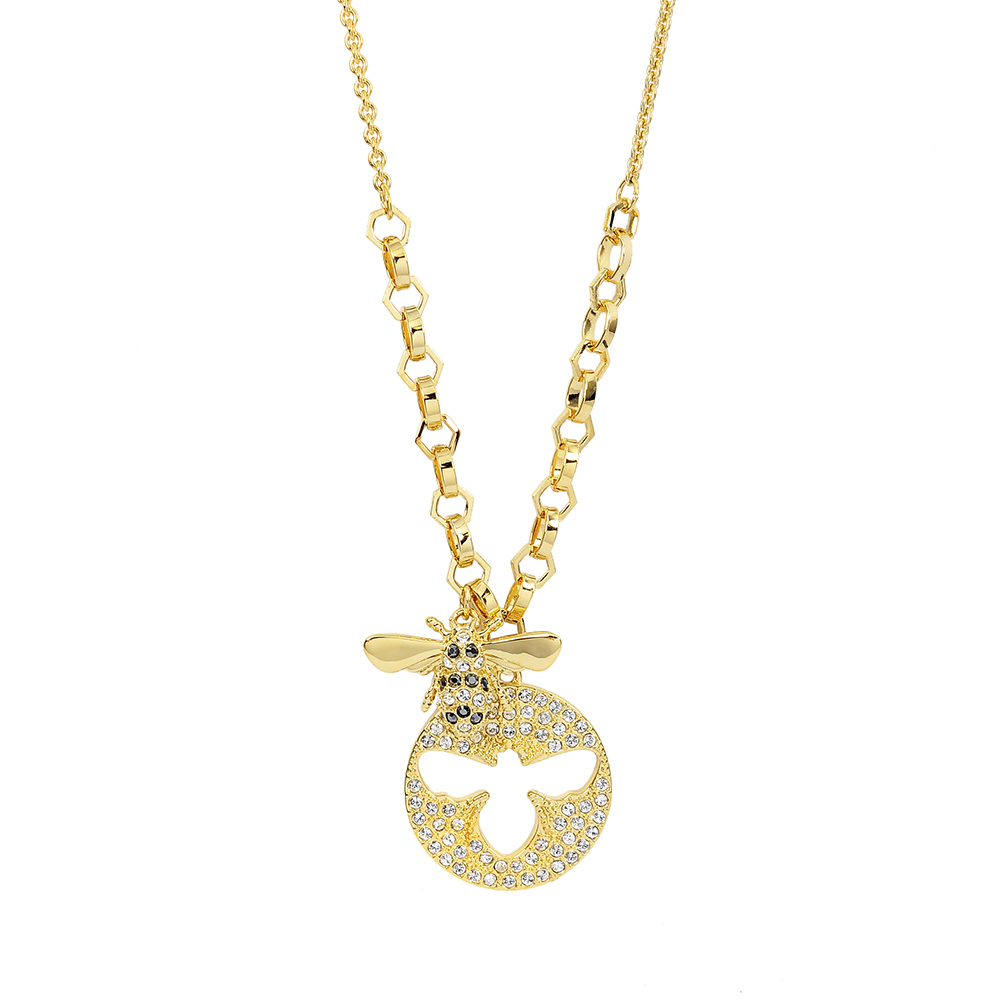 SWAROVSKI 施華洛世奇 Lisabel蜜蜂造型水晶金色項鍊