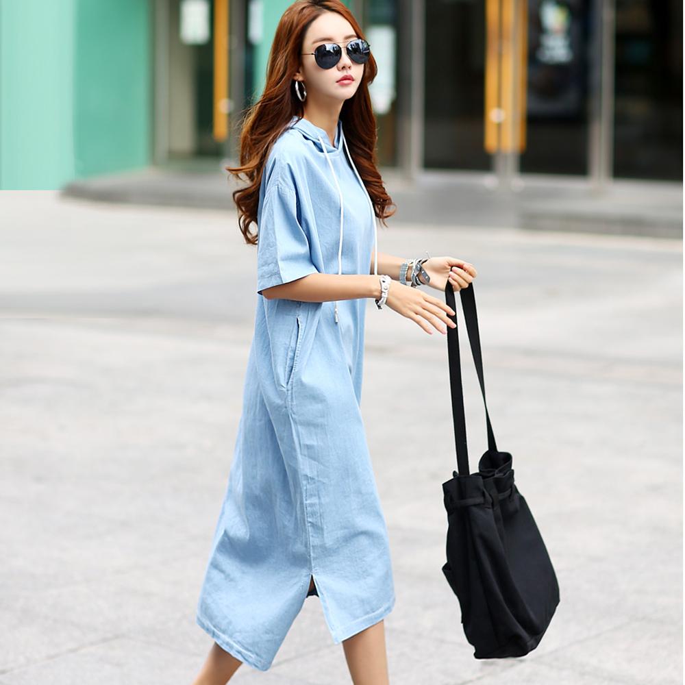 正韓 連帽五分袖牛仔連身洋裝 (藍色)-N.C21