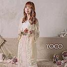 東京著衣-YOCO 甜美女伶蕾絲滾邊開襟綁帶罩衫-S.M.L