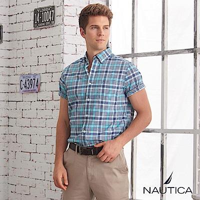 Nautica清新型男造型格紋短袖襯衫-綠白格