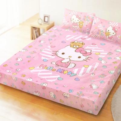 享夢城堡 雙人加大床包枕套5x6.2三件組-HELLO KITTY 糖果熊-粉.綠
