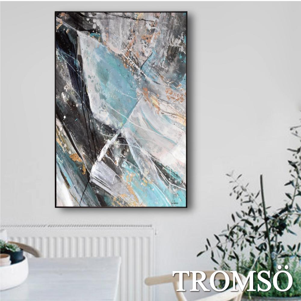 TROMSO 北歐生活版畫有框畫-境向石紋A WA74