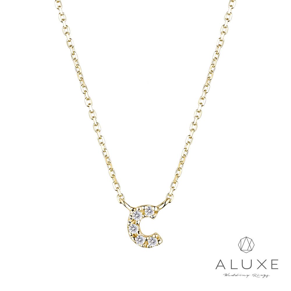 ALUXE亞立詩Alphabet系列10K鑽石項鍊-C