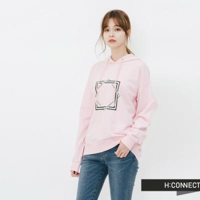 H:CONNECT 韓國品牌 女裝-抽繩印字圖樣帽T-粉