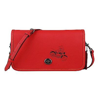 COACH x Disney聯名款 米奇圖騰壓印牛皮轉釦斜背包(紅)
