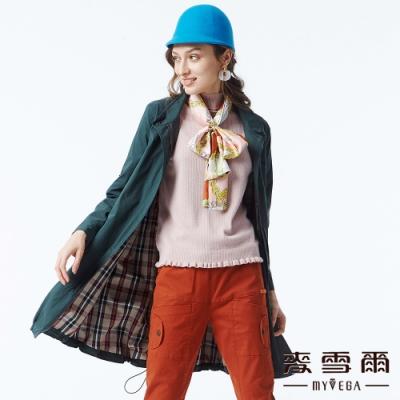 麥雪爾 棉質立領純色風衣外套-綠