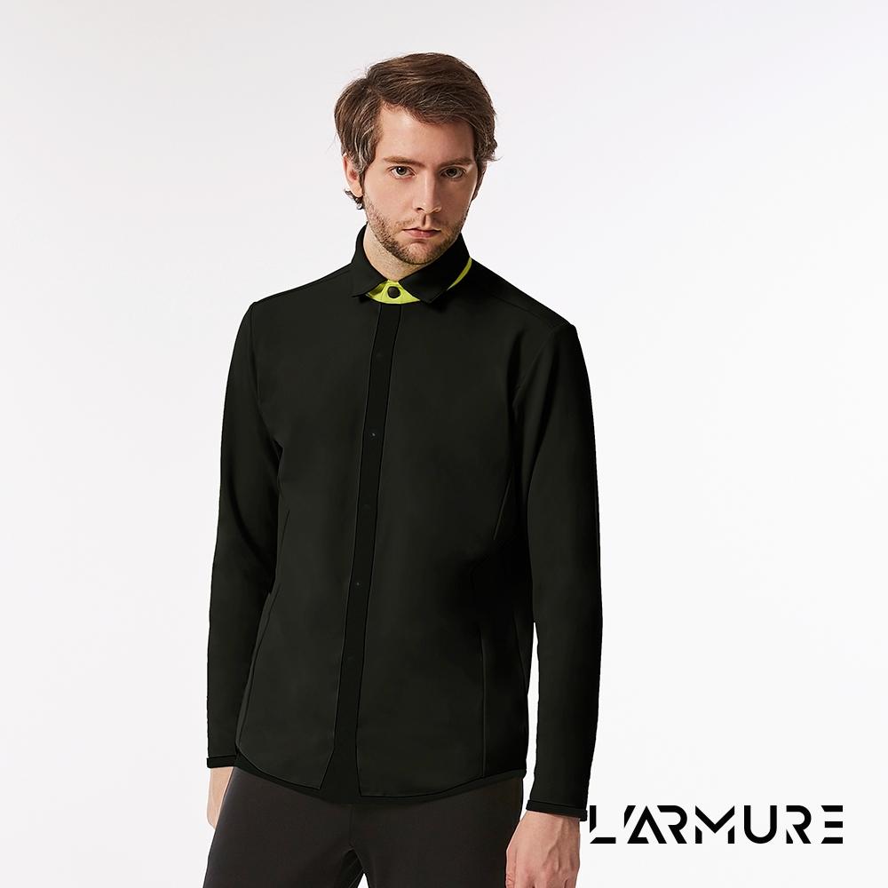 L'ARMURE 男裝 TCool 黑色彈性襯衫