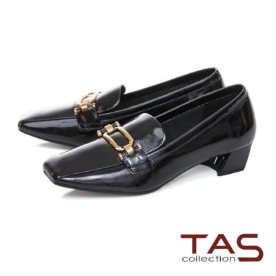 TAS金屬扣飾方頭漆皮粗跟鞋-氣質黑