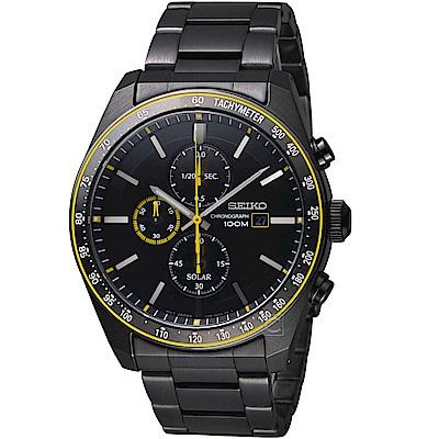 精工SEIKO 潮流時尚太陽能計時腕錶(SSC729P1)-黑黃
