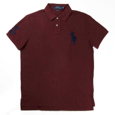 Polo Ralph Lauren 大馬Logo暗紅色3號馬球短袖網眼Polo衫(Custom Slim Fit)