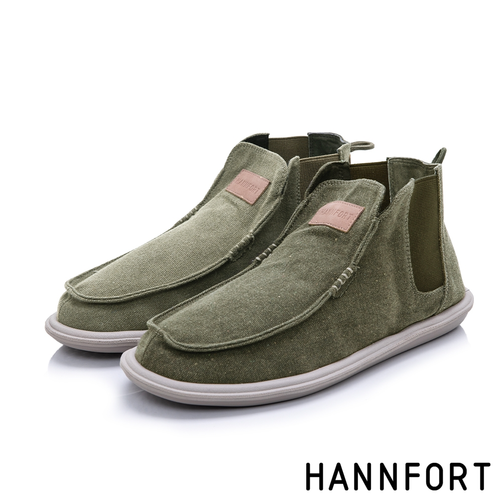 HANNFORT COZY可機洗帆布氣墊懶人鞋 男 軍墨綠
