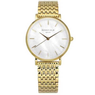 ROSEFIELD 簡約典雅 珍珠母貝 日本機芯 不鏽鋼手錶 白x鍍金 UEWG-U21 33mm