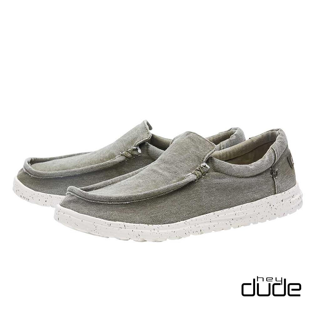 HEY DUDE(男) 無帶直套式加厚水洗棉布輕量休閒鞋  - 意識綠