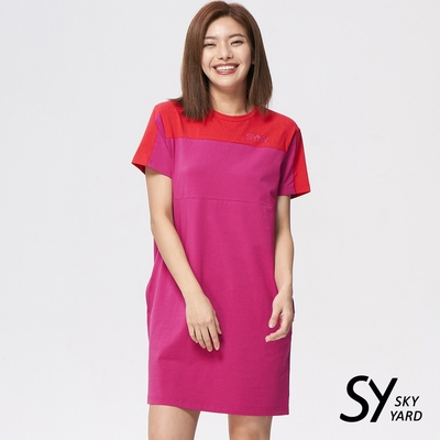 【SKY YARD 天空花園】撞色拼色LOGO印花洋裝-粉桃