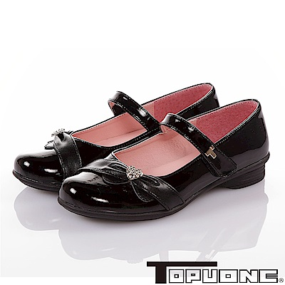 TOPUONE 手工豚皮水鑽減壓防滑公主包鞋童鞋-黑色