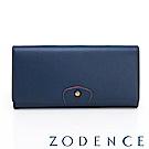 ZODENCE 袖釦系列牛皮豆點LOGO設計雙蓋長夾 深藍