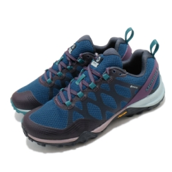 Merrell 戶外鞋 Siren 3 GTX 女鞋 登山 越野 耐磨 黃金大底 防水 低筒 藍 紫 ML034996