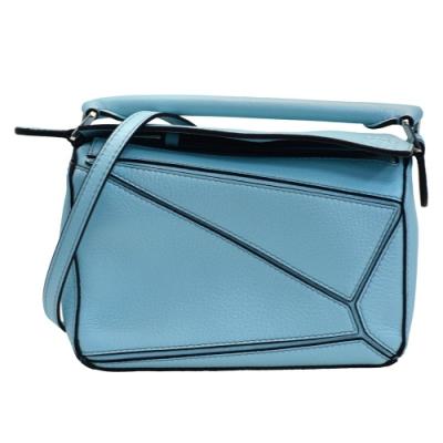 LOEWE PUZZLE BAG系列小牛皮幾何拼接設計手提/斜背包(迷你-淺藍色)