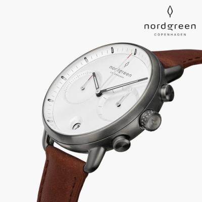 Nordgreen Pioneer 先鋒 深空灰系列 復古棕純素皮革錶帶手錶 42mm