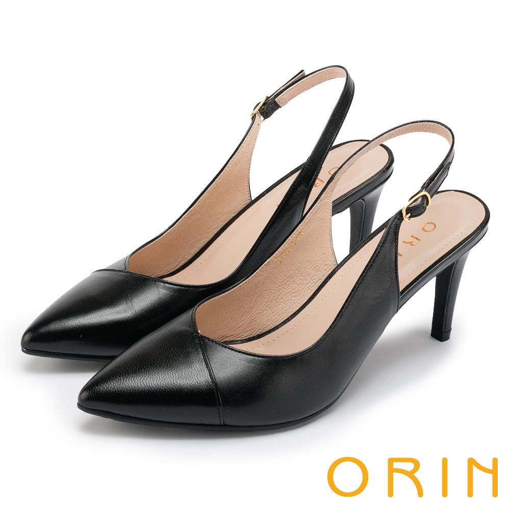 ORIN 時尚名媛 羊皮繫帶鏤空後拉帶尖頭跟鞋-黑色