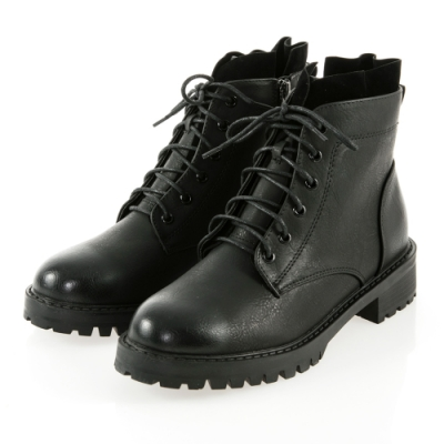 JMS-復古擦色異材質拼接綁帶拉鍊短靴-黑色