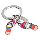 COACH彩色條紋水鑽人字拖造型鑰匙圈