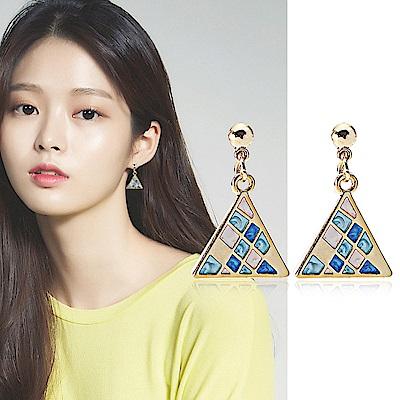 梨花HaNA  耳針/耳夾選韓國貝殼貝石馬賽克三角幻藍耳環