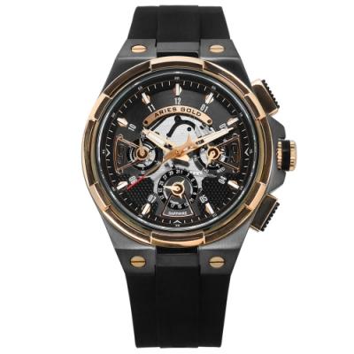 ARIES GOLD 鏤空錶盤 藍寶石水晶玻璃 防水 矽膠手錶-黑灰x玫瑰金框/45mm