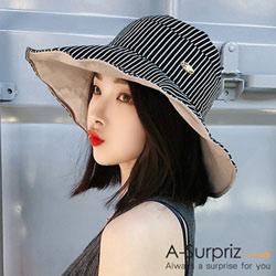A-Surpriz 典雅條紋雙面遮陽布帽(黑)