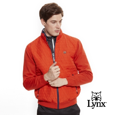 【Lynx Golf】男款防風保暖羊毛材質菱格紋剪接長袖外套-橘色