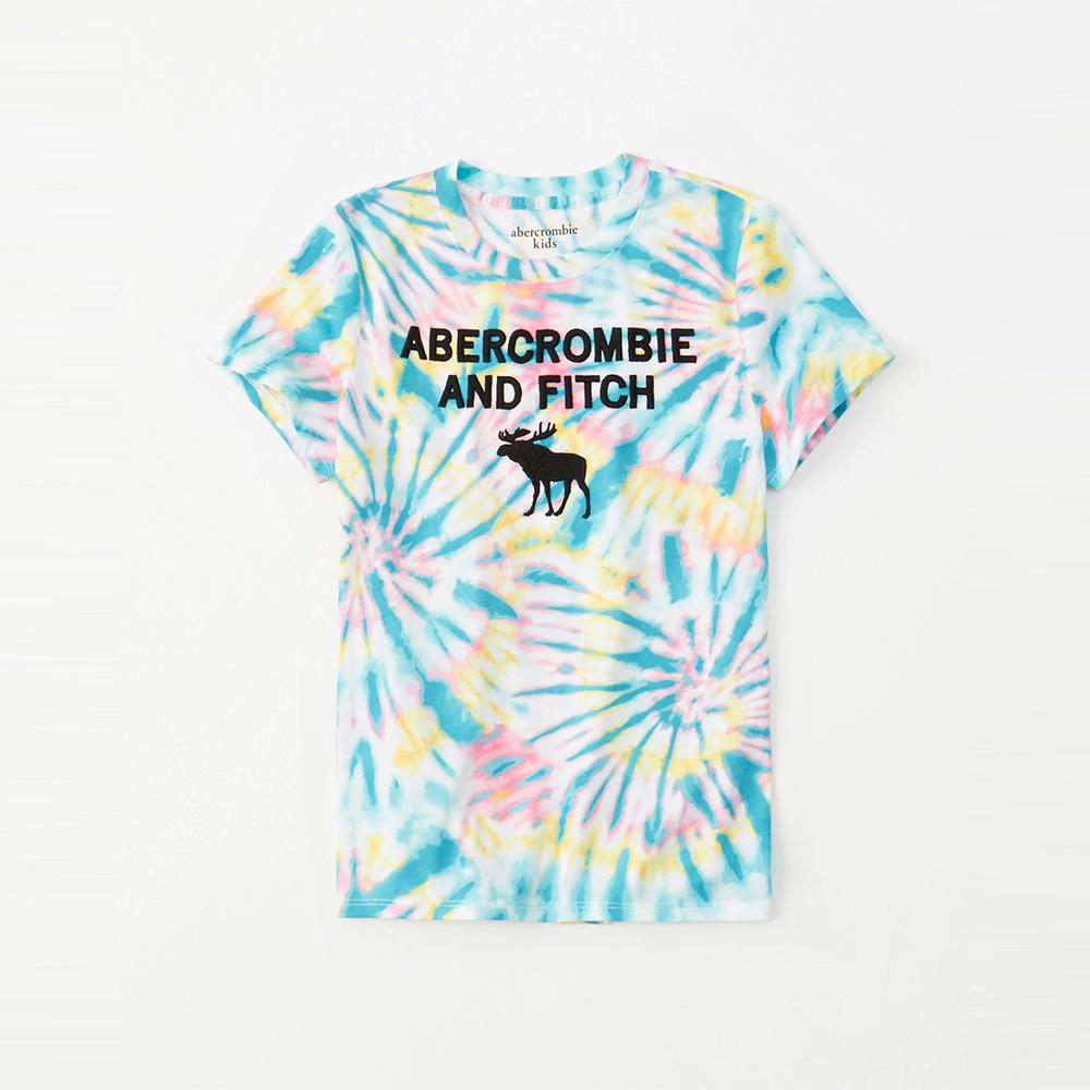 麋鹿 AF A&F 經典電繡大麋鹿文字短袖T恤(女青年款)-彩色