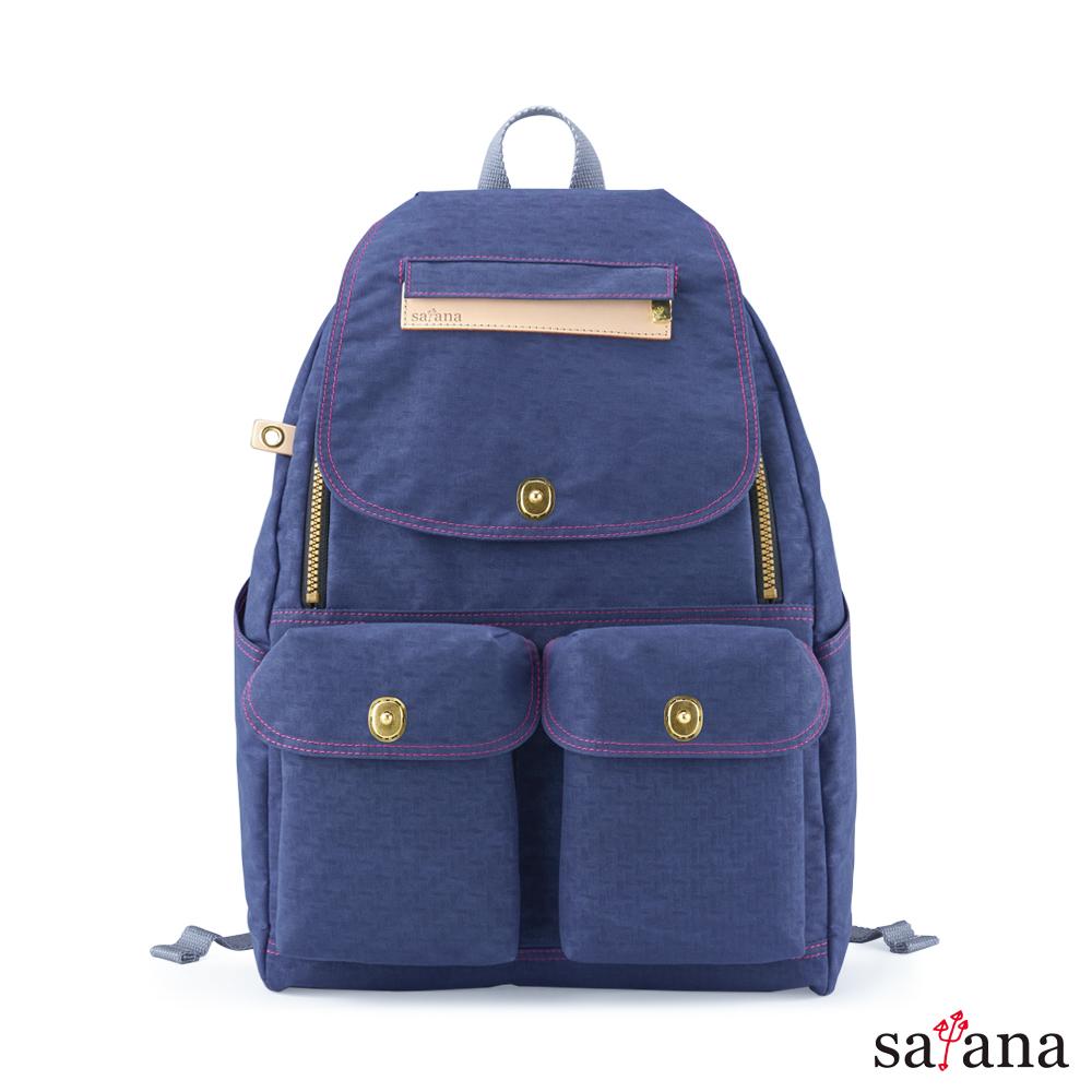 satana - Soldier 多功能拉鍊後背包 - 礦青藍