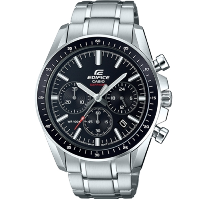 CASIO EDIFICE 三眼沉穩計時腕錶(EFB-570D-1A)黑/44.7mm