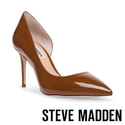 STEVE MADDEN-LESSONS 鏡面側簍空高跟鞋-咖啡色